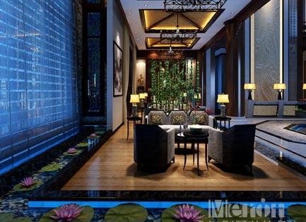 3000平北京河防口售楼处新中式风格装修效果图
